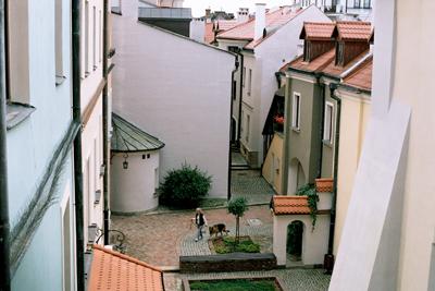 Centrum i gamla stan i Zamosc.