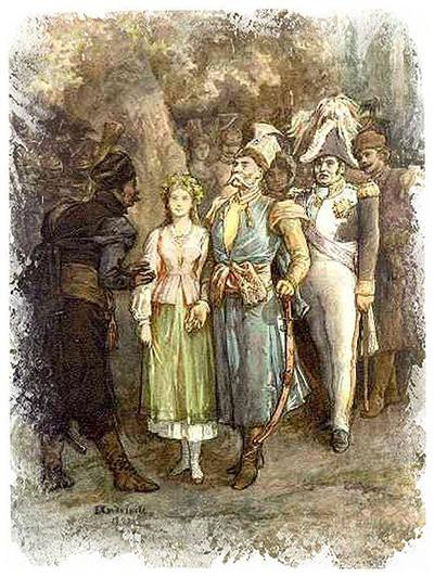 """""""Nu börjar polonäsen"""" Illustration av Michał Elwiro Andriolli (1836-1893) till utgåvan från 1882."""