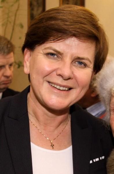 Beata Szydło ställer upp som premiärministerkandidat för oppositionspartiet PiS. Foto: Jarosław Roland Kruk, wikipedia