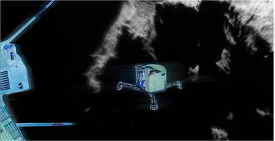 Philea har skickats ut rån rymdsonden Rosetta och lägger till vid kometen. Foto: ESA
