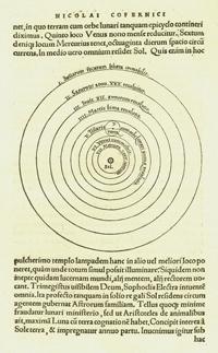 Sida ur De Revolutionibus celestium, som visar  hur Copernicus uppfattade solsystemet.