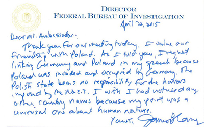 FBI-chefen James Comeys handskrivna brev till Polens ambassadör i Washington.