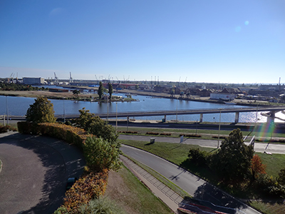 Staden vid vattnet. Centrala Szczecin är genomskuret av vatten.. Foto: Gunilla Lindberg
