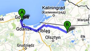 Det är tjugofem mil från Gdynia till Varglyan. På vägen stannade de i medeltidsstaden Reszel och pilgrimsorten Swieta Lipka. Karta från Google Maps.