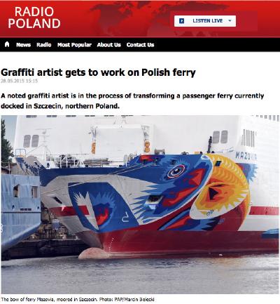 Skärmdump från Radio Polands webbplats.