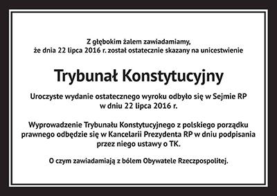 Dödsruna över Konstitutionsdomstolen. Bild: Facebook.