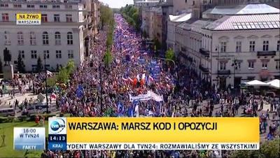En kvarts miljon människor demonstrerar för demokrati och rättssäkerhet i Warszawa. Foto: Facebook.