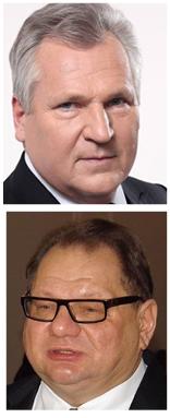 I en ny avlyssning är det ett samtal mellan förre presidenten Aleksander Kwaśniewski och parlamentarikern Ryszard Kalisz som publicerats. Fotomontage, bilderna från wikipedia och Kwasniewskis hemsida.