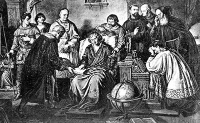 Bild från Wikimedia. Etsning av den polske målaren Aleksander Lesser (1814-1884): Ostatnie chwile Mikolaja Kopernika (Mikolaj Koperniks sista stund).