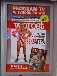 Andrzej Lepper, som veckotidningen Wprost avbildade honom under sexskandalen i vintras.