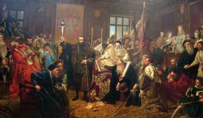 Målningen är full av prominenta gestalter som spelade roll för unionen mellan Polen och Litauen. I centrum kungen, Zygmunt August med korset i handen. På knä kastellanen i Kraków. Kvinnan i grått till höger är kungens syster Anna Jagellonika. Hon var inte med vid tillfället, men Matejko hade sett hennes kläder på ett museum i Warszawa. Mannen i rött t.h. är kardinal Stanisław Hosius. Foto: Maciej Szczepańczyk.