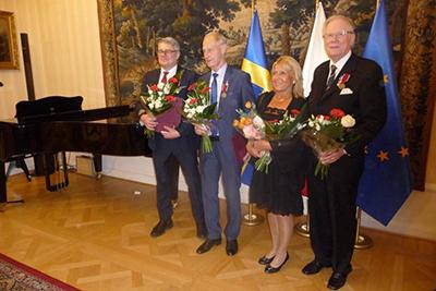 Arthur Sehn, Kaj Wahlberg, Krystyna Larsson och Tor Johansson fick på torsdagen ta emot den polska medaljen Bene Merito. Foto: Peter Eklund.