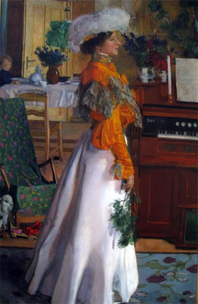 Mehoffer: porträtt av konstnärens hustru. Något beskuren.