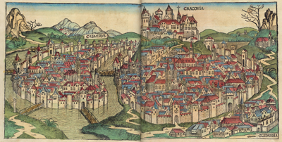 Träsnitt ur Hartmann Schedels Nürnberg-krönika från 1400-talet. Bild: Wikipedia