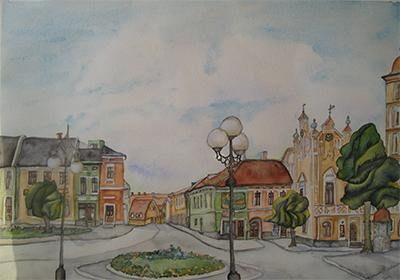 Torget i Leżajsk målning av Anna Janina Pieniowska.