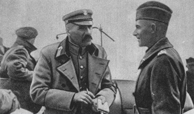 Marskalk Jozef Piłsudski och general Edward Rydz-Śmigły, augusti 1920