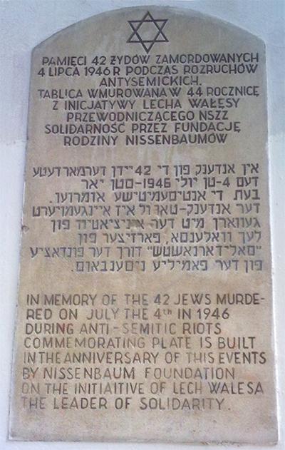 1990 invigdes en stor minnestavla över massakern på initiativ av dåvarande Solidaritetsledaren Lech Wałęsa. Foto: wikipedia.