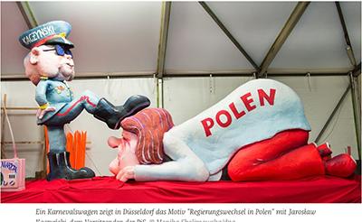 Tysk satir över den politiska situationen i Polen. Skärmdump deån den tyska tidningen Die Zeit.