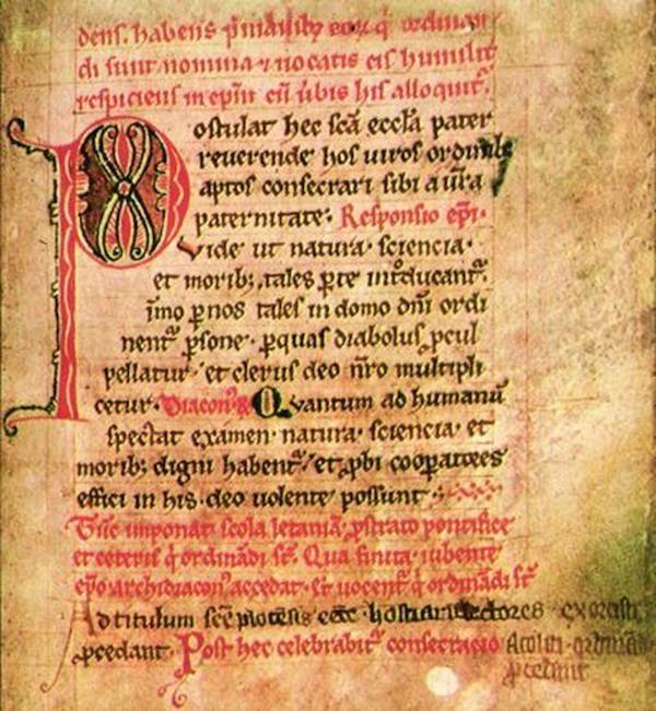 Fragment ur Pontyfikał Płocki – en medeltida liturgisk handskrift från Płock. Foto: wikipedia.