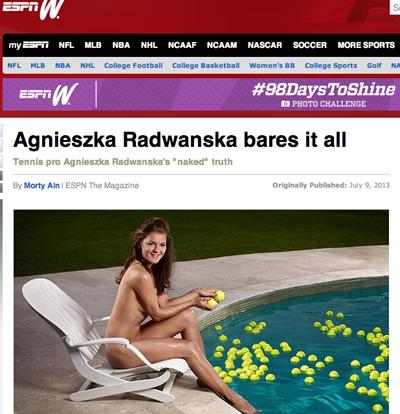 Radwanska vid poolen. Skärmdump från amerikanska sporttidningen espnW.