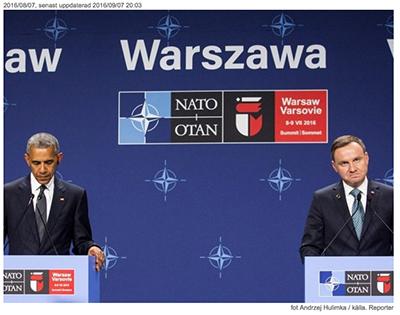 Presidenterna Obamas och Dudas gemensamma presskonferens efter samtalet inför Natos toppmöte. SKärmdump från Newsweek polska.
