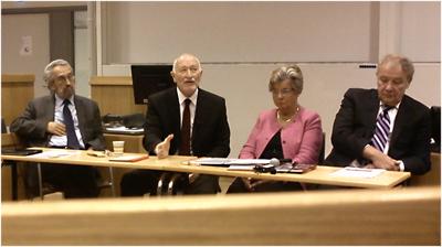 På seminariet i Uppsala diskuterade Eugeniusz Smolar, František Šebej, Ann-Cahhrine Haglund och Martin Palouš lärdomarna efter kommunismens fall. Foto: Adam Sabir