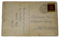 Notera det minutiöst tecknade frimärket med stämpel på kortet till elvaåriga kuriren Krystyna.