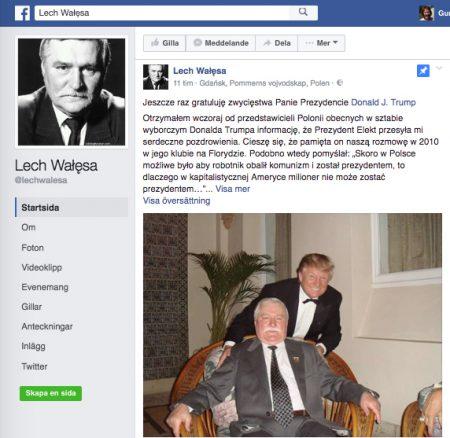 Lech Wałęsa minns ett möte med Donald Trump. Bild: Facebook.