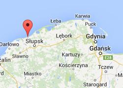 Ustka, en historisk hamnstad vid Östersjön, norr om Slupsk. Foto: Google maps.