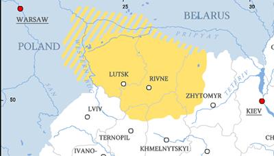 Det gula området är Volhynien, alltså delar av nuvarande Polen, Vitryssland och Ukraina.  karta: wikipedia.