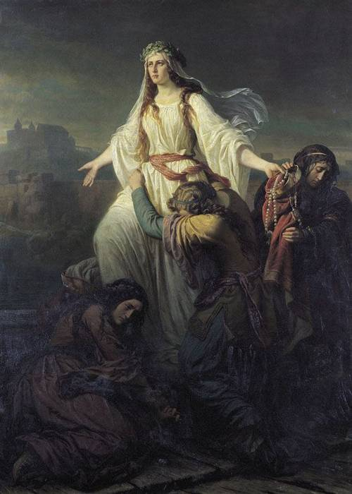 Wandas död, målning av Maksymilian Piotrowski 1861.