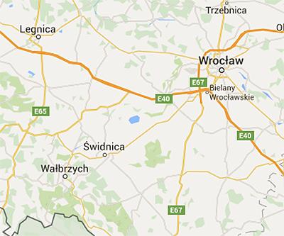 Walbrzych ligger sydväst om Wroclaw, nära gränsen till Tjeckien. Karta: Google maps.