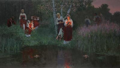 Flickorna lägger ut kransar och ljus enligt Wandatraditionen. Av Ivan Kupala, 2009.