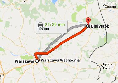 Białystok ligger tjugo mil nordöst om Warszawa, i ett område som kallas Polens lungor. Karta: Google maps.